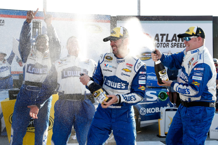 JIMMIE JOHNSON WINS AT ATLANTA, TIES DALE EARNHARDT WITH 76 WINS